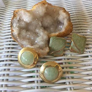 Two pairs of vintage Costume jewelry earrings jade